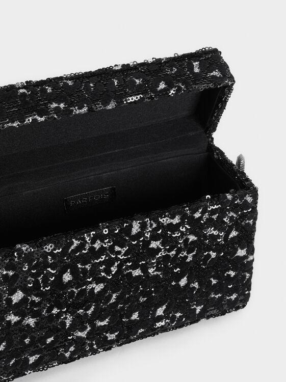 Sequin Party Clutch, Black, hi-res