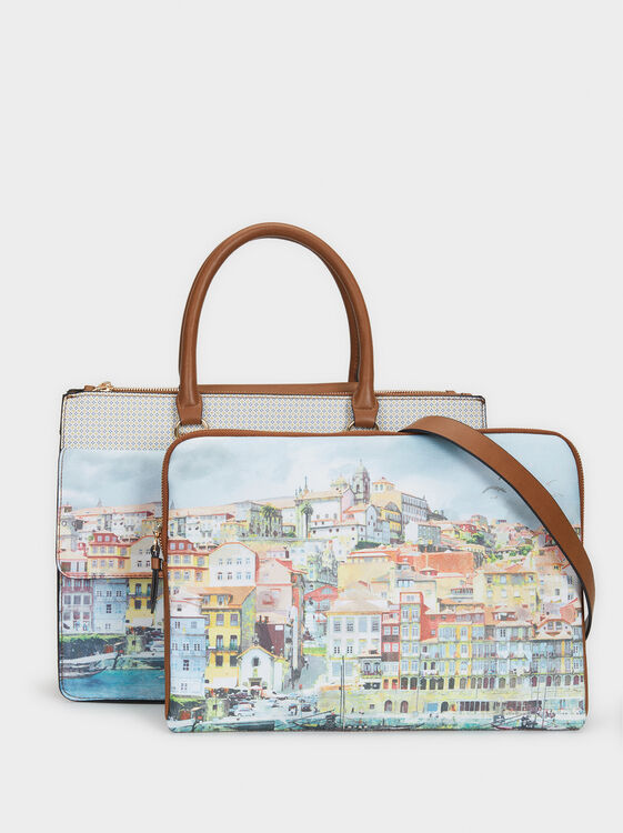 Porto Print Briefcase, Blue, hi-res