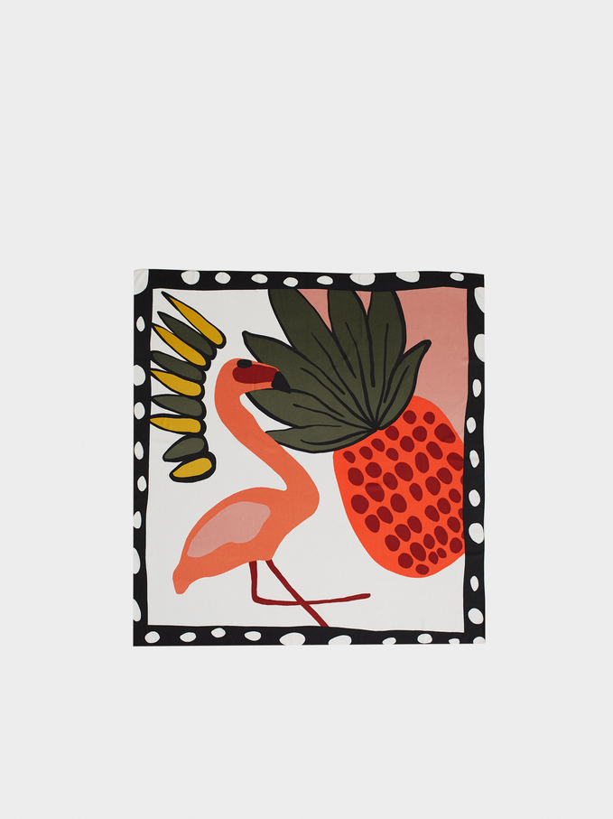 Square-Cut Printed Scarf With Pineapple And Flamingos, Multicolor, hi-res