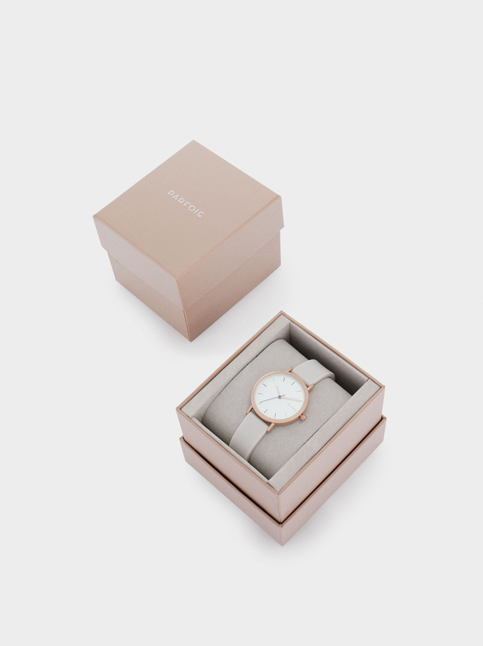 Reloj Correa De Silicona Caja Redonda, Gris, hi-res