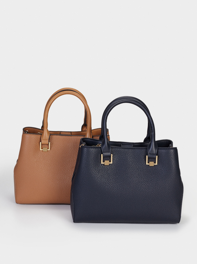 Bolso Shopper Con Asa Bandolera Extraíble, Azul Marino, hi-res