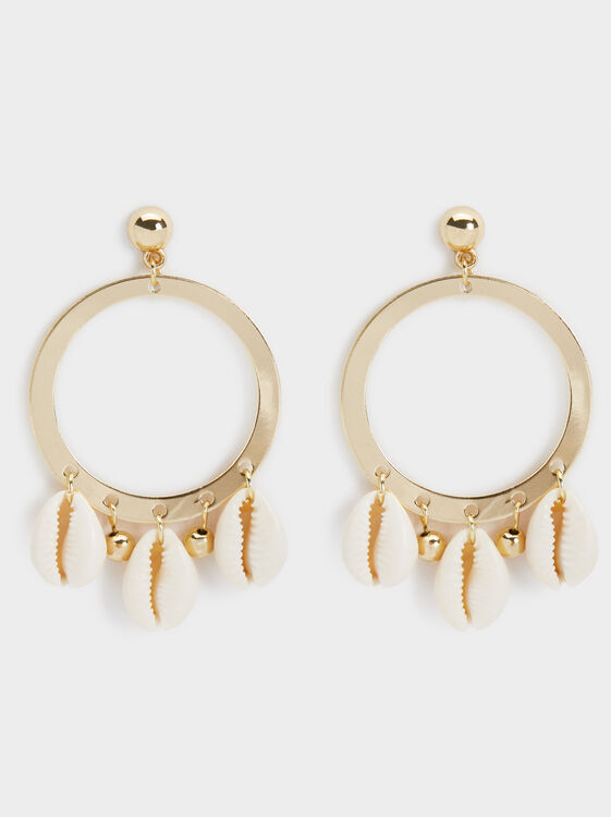 Medium Seashell Earrings, Golden, hi-res