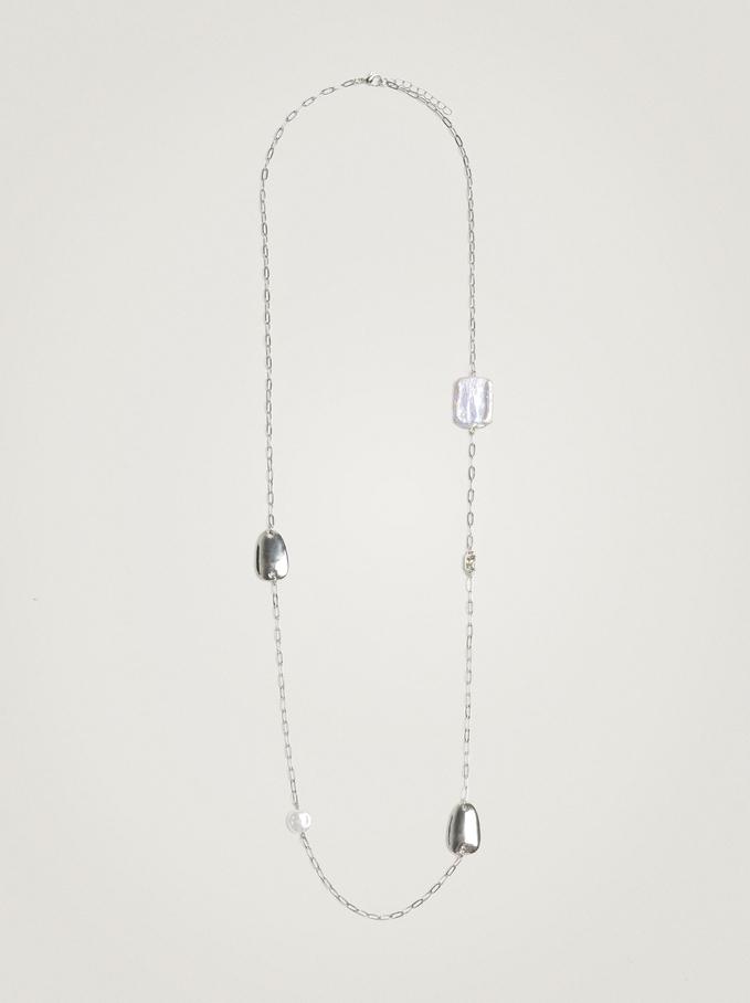 Long Pearl Necklace, Silver, hi-res