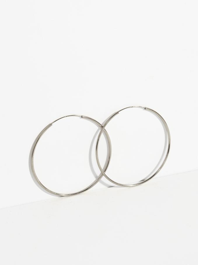925 Silver Large Hoop Earrings, Silver, hi-res