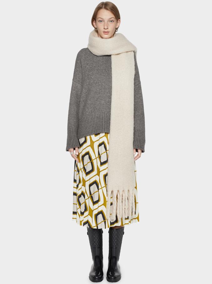 Printed Skirt, Ecru, hi-res