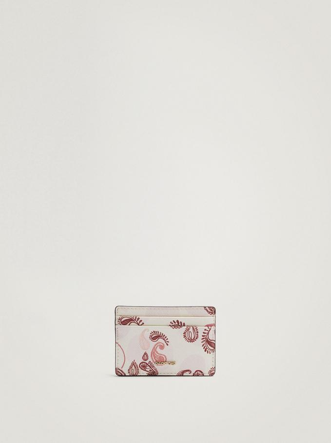 Paisley Print Card Holder, Pink, hi-res