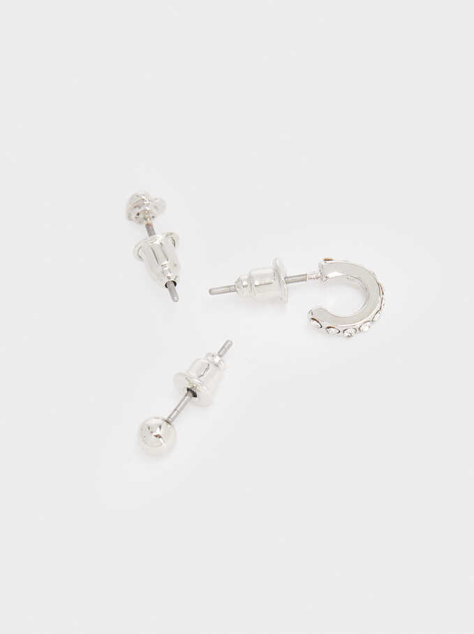 Set Of Rhodium Heart Earrings, Silver, hi-res