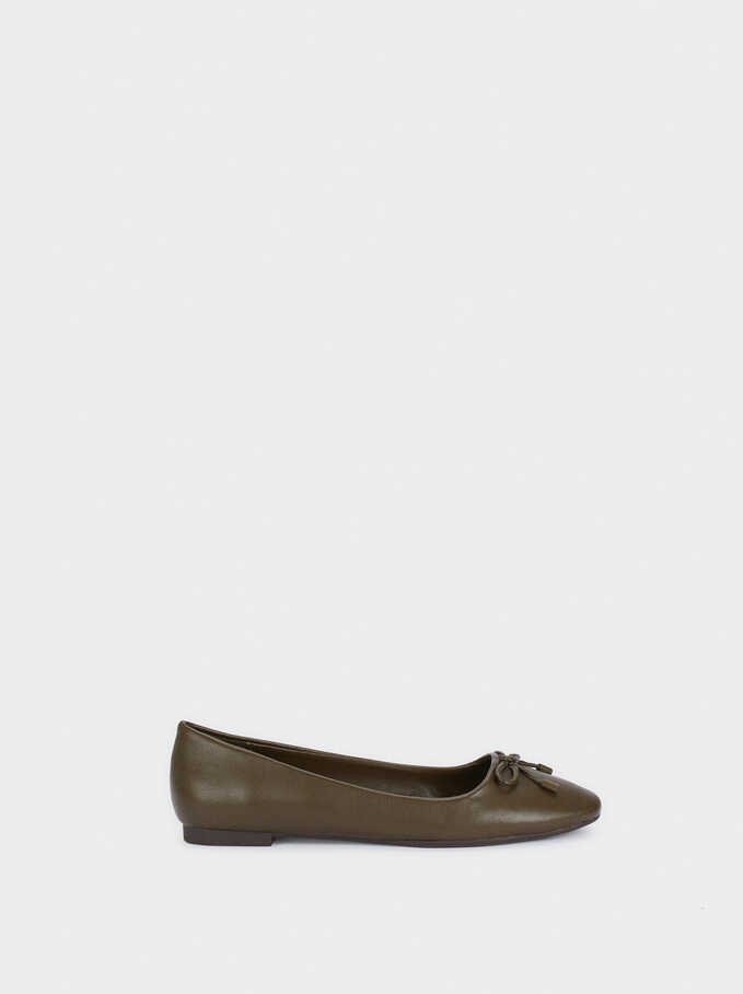 Ballerinas With Bow Detail, Khaki, hi-res