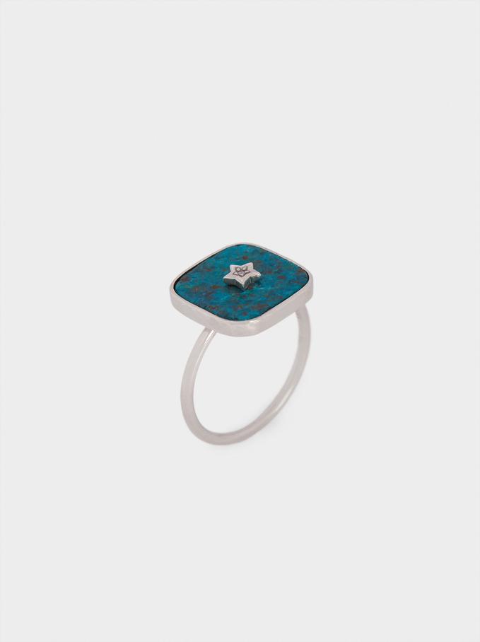 925 Silver Signet Ring, Blue, hi-res