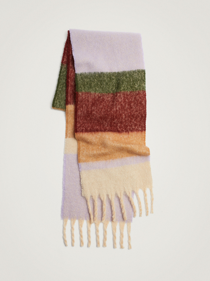 Printed Maxi Scarf With Fringing, Multicolor, hi-res