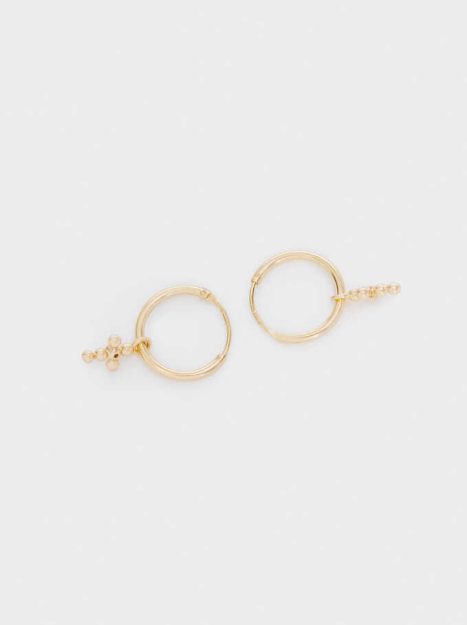 925 Sterling Silver Small Hoop Earrings With Cross, Golden, hi-res