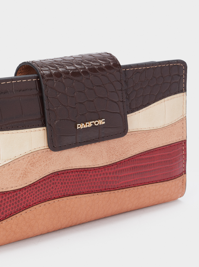 Multicoloured Striped Wallet, Brown, hi-res