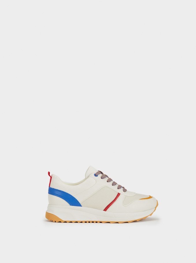 Multicoloured Trainers, Mustard, hi-res