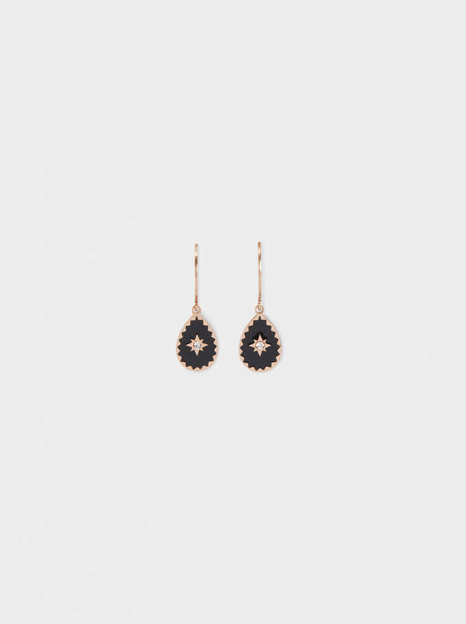 Stainless Steel Earrings With Star And Crystal, Orange, hi-res