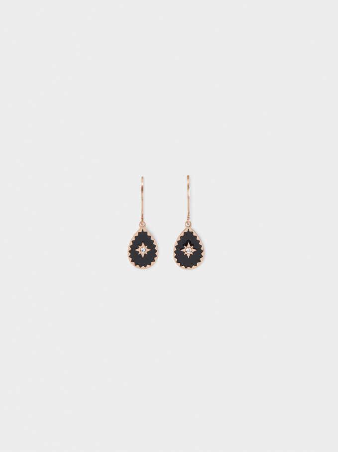 Medium Stainless Steel Earrings With Star And Crystal, Orange, hi-res