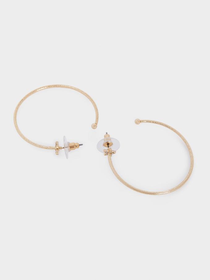 Star Hoop Earrings, Golden, hi-res
