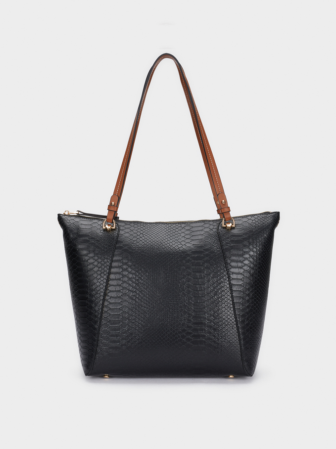 Embossed Animal Print Tote Bag With Removable Interior, Black, hi-res