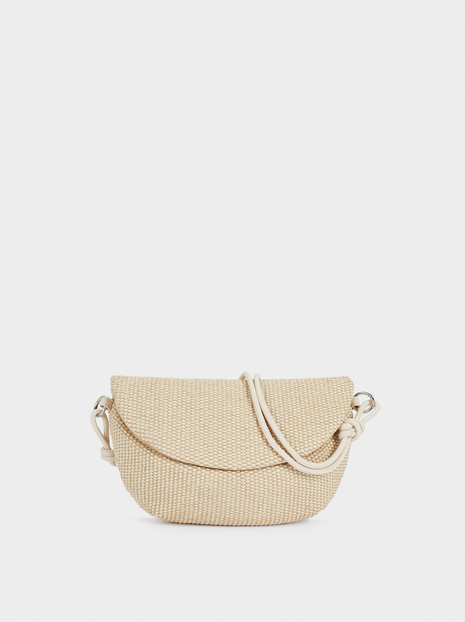 Raffia Textured Crossbody Belt Bag, Ecru, hi-res