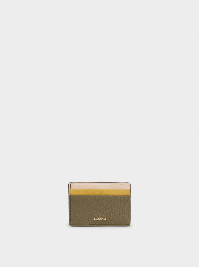 Embossed Card Holder, Khaki, hi-res