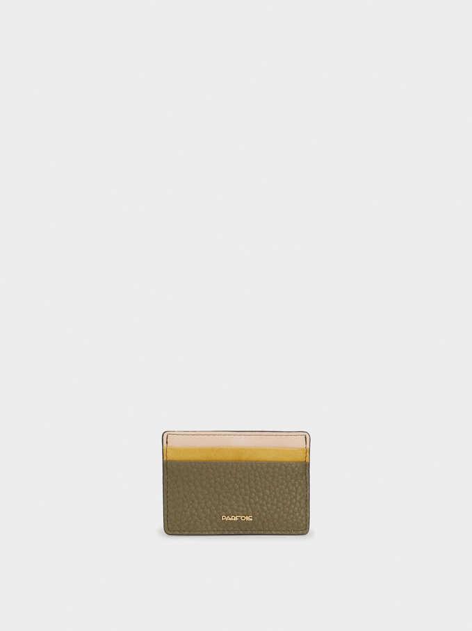 Embossed Card Holder, Khaki, hi-res