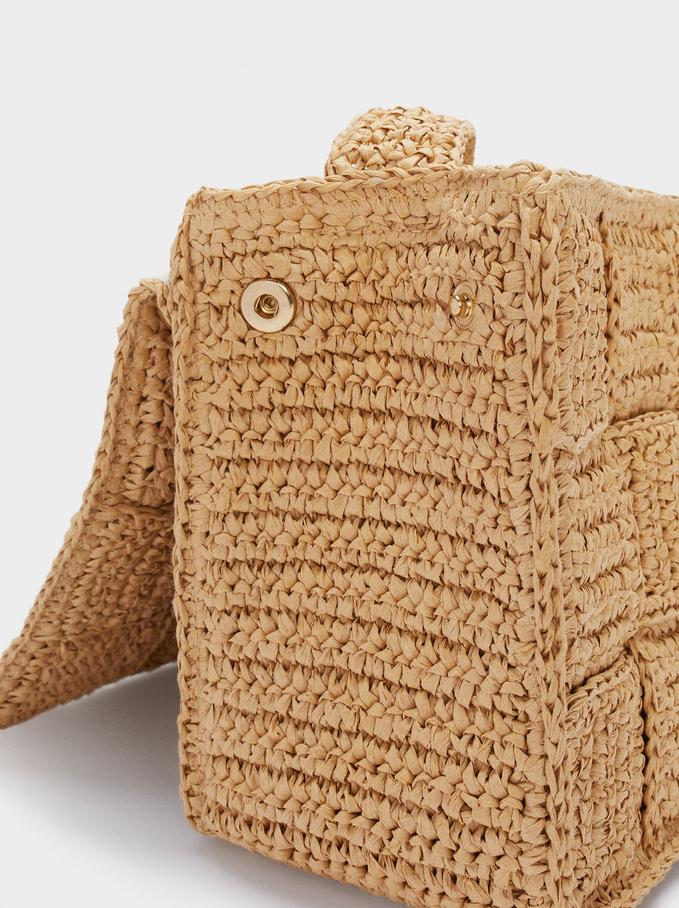 Woven Crossbody Bag, Beige, hi-res