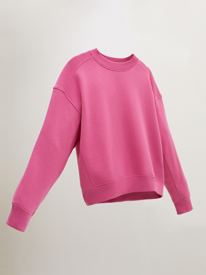 Plain T-Shirt With Round Collar, Pink, hi-res