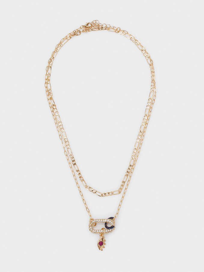 Double Necklace With Eye And Crystals, Golden, hi-res