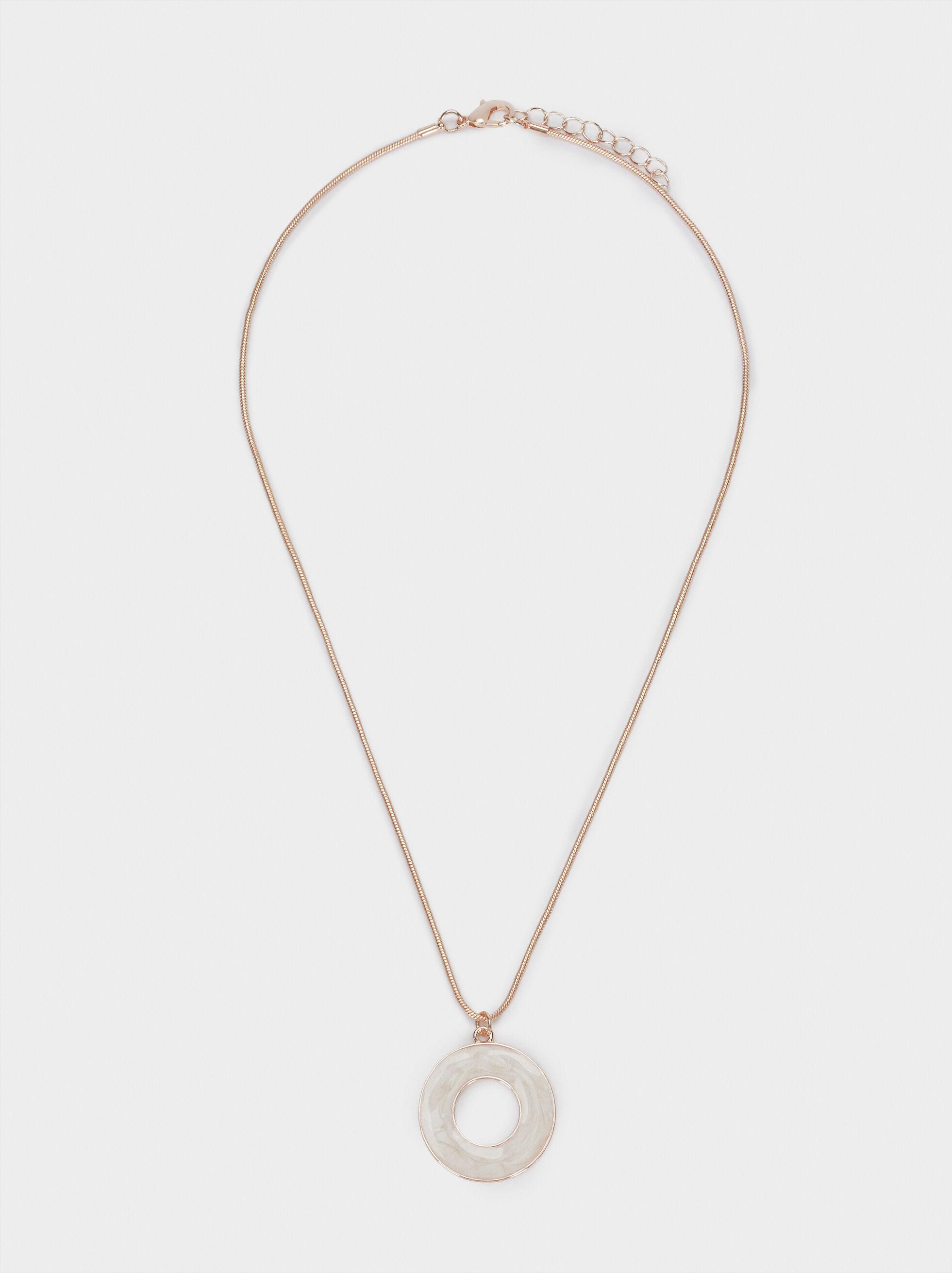 Short Rose Gold Necklace, Orange, hi-res