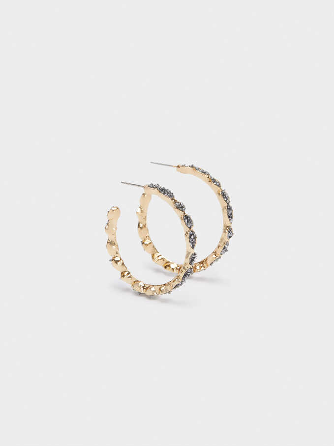 Hoop Earrings With Crystals, Grey, hi-res