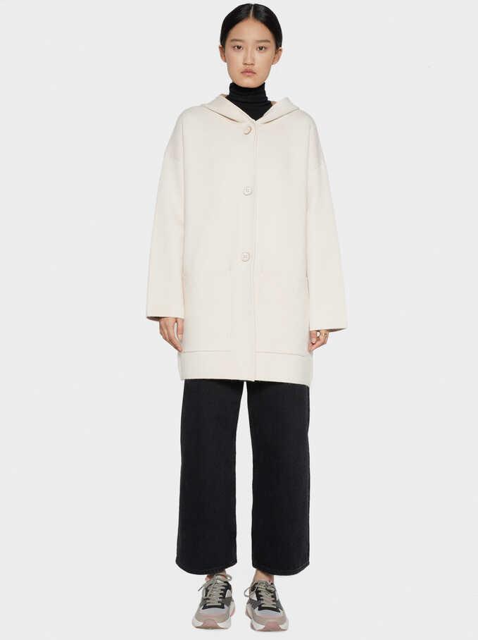 Knit Cardigan With Detachable Fur Trim, Brown, hi-res