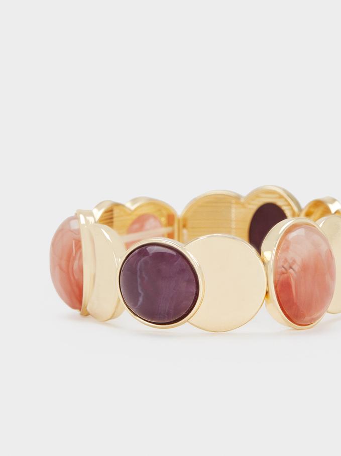 Elastic Bracelet With Multicoloured Resin Details, Multicolor, hi-res