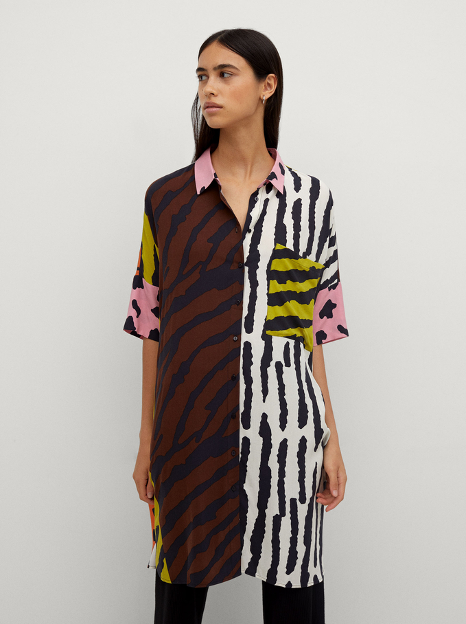 Animal Print Shirt Dress, Ecru, hi-res