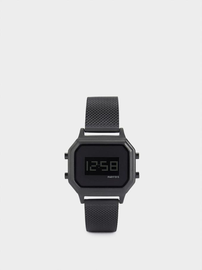 Zegarek Cyfrowy Z Kwadratowa Tarcza, Czarny, hi-res
