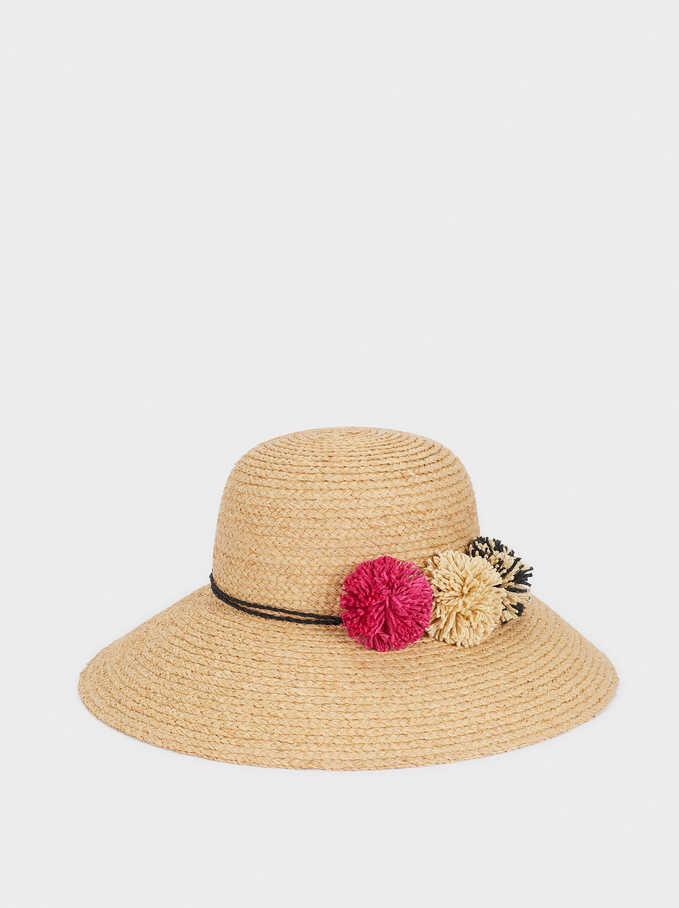 Sombrero De Paja Detalle Pompones, Beige, hi-res