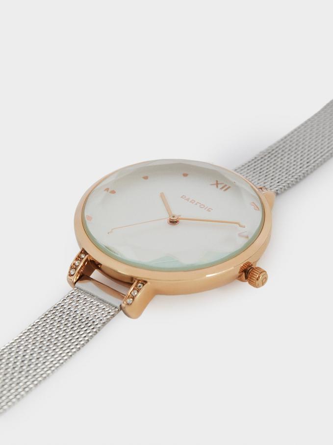 Montre-Bracelet En Maille Métallique, Argent, hi-res