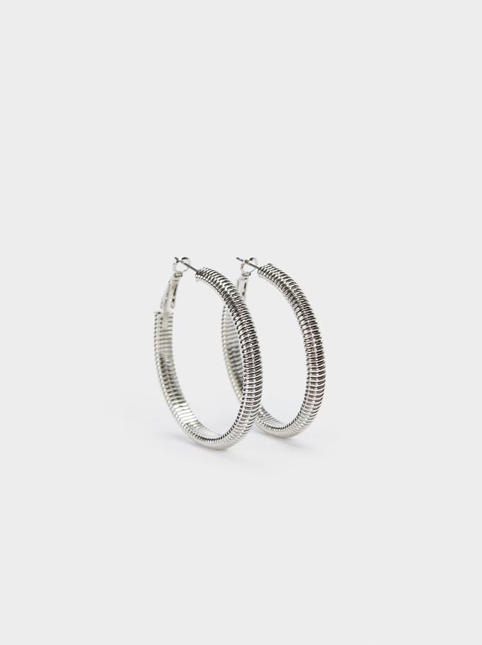 Gold Hoop Earrings , Silver, hi-res