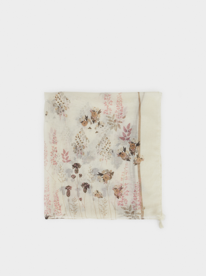 Floral Print Scarf, Ecru, hi-res