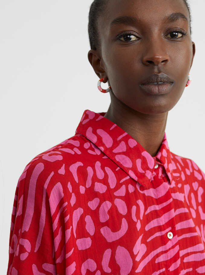 Printed Oversized Shirt , Red, hi-res