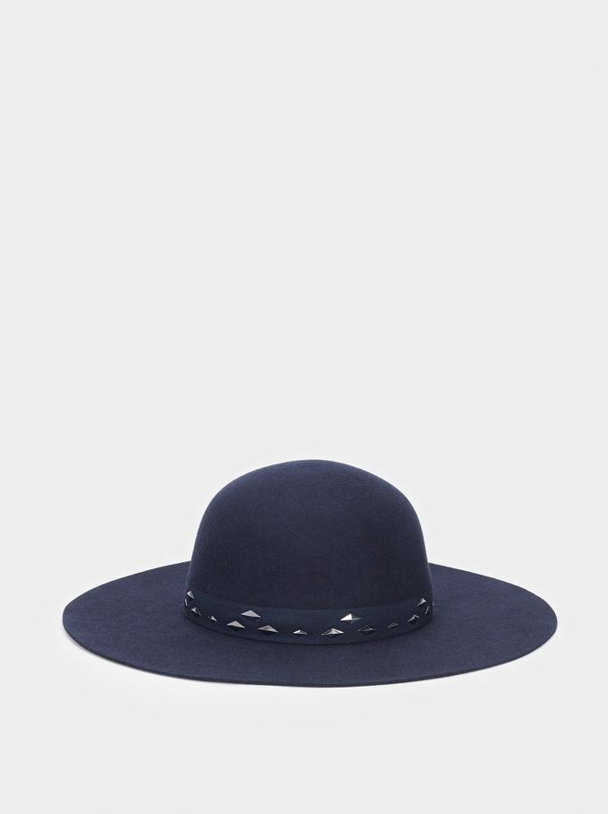 Chapeau En Laine, Bleu Foncé, hi-res