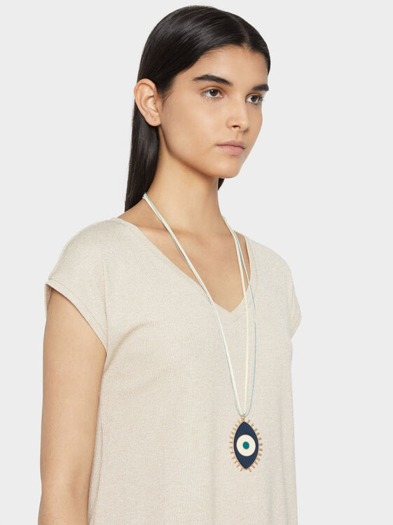 Long Necklace With Eye Motif, Multicolor, hi-res