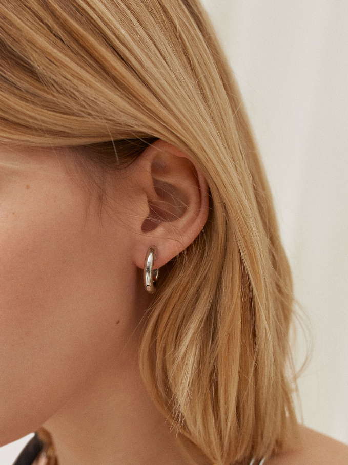 Silver-Plated Stainless Steel Small Hoop Earrings, Silver, hi-res