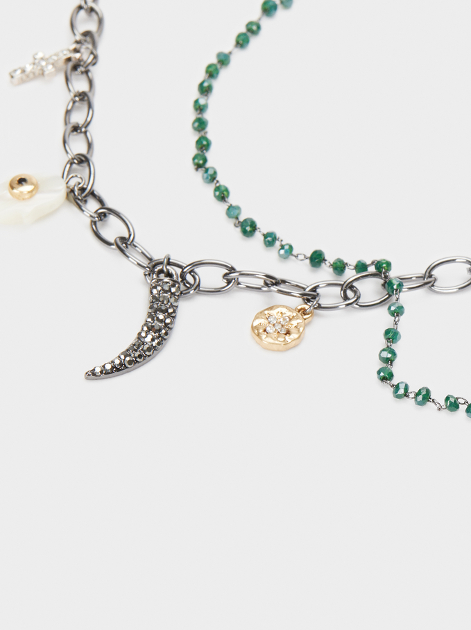 Short Necklace With Horn And Multicoloured Charms, Green, hi-res