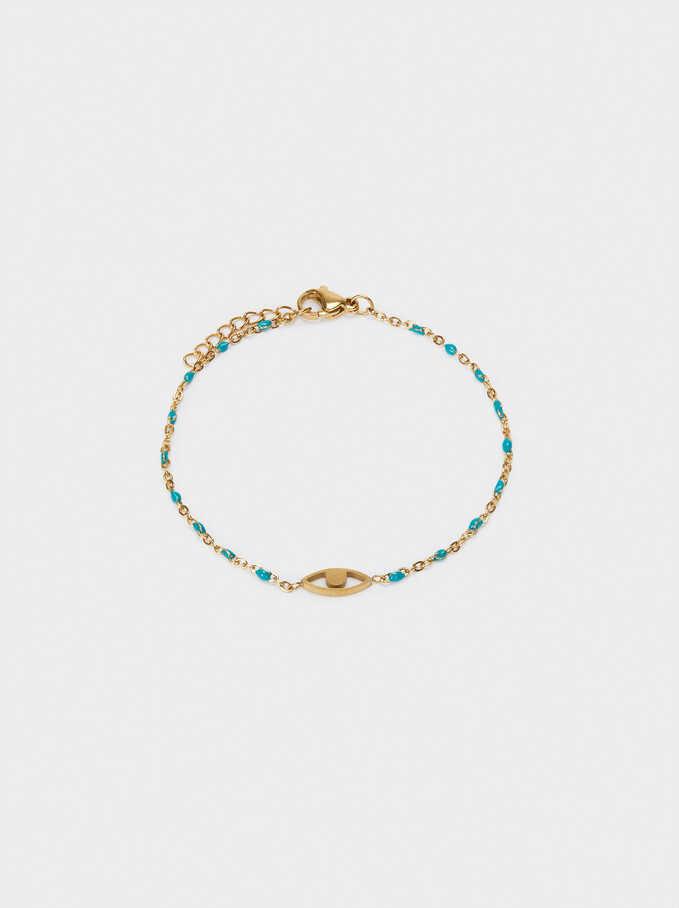 Bracelet En Acier Avec Œil, Bleu, hi-res