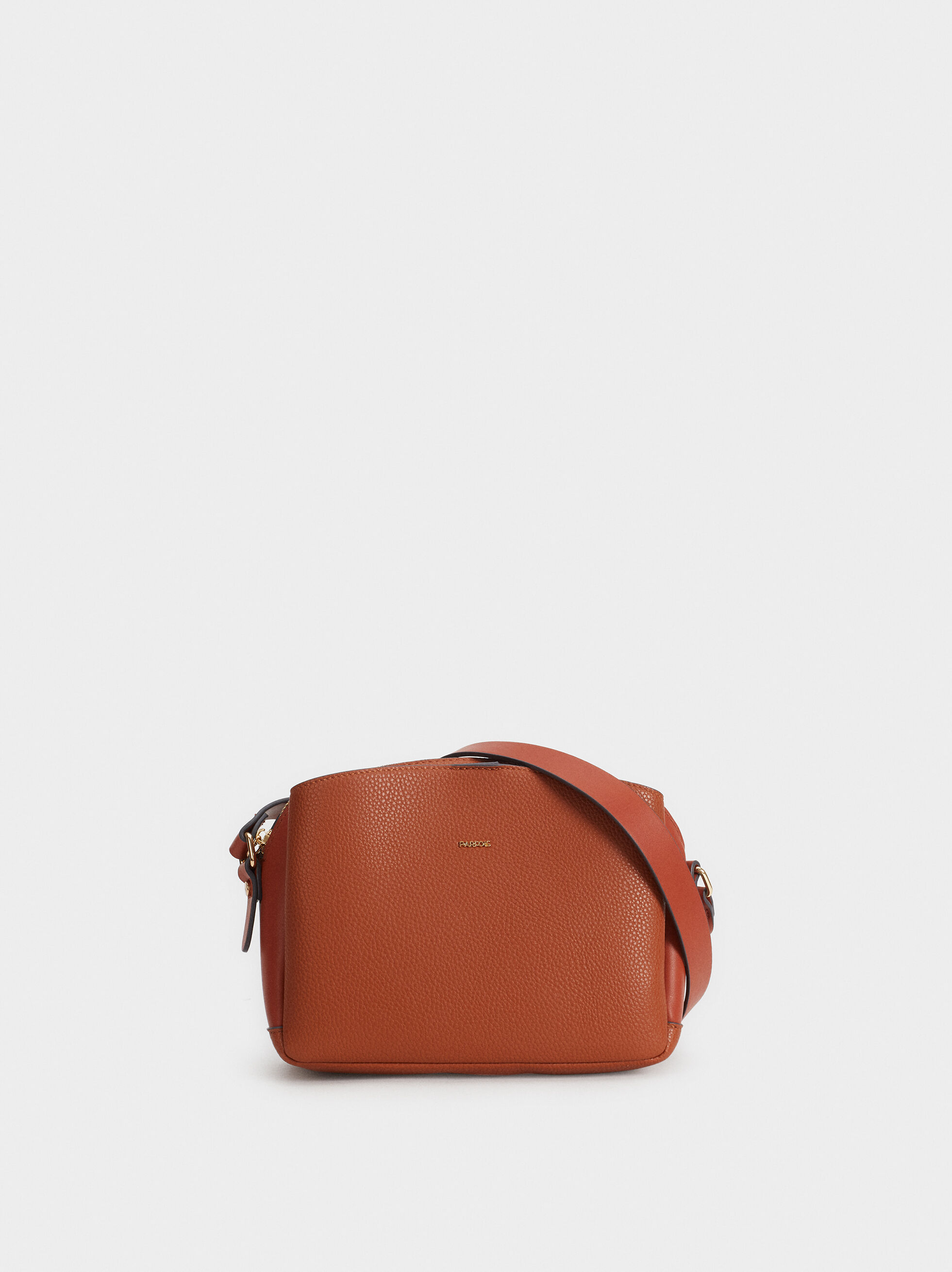 Faux Leather Crossbody Bag, Camel, hi-res