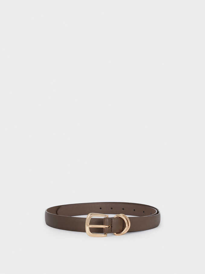 Belt With Gold Buckle, Brown, hi-res