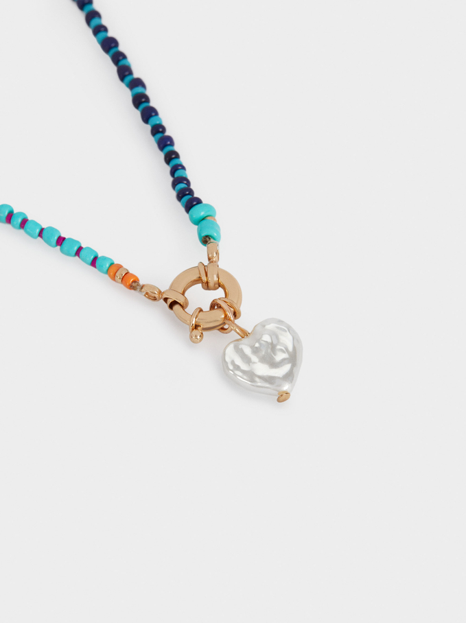 Long Necklace With Beads And Heart, Multicolor, hi-res