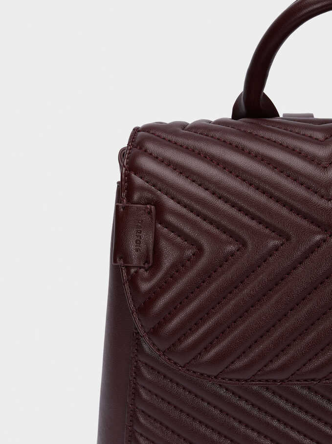 Quilted Backpack With Front Flap Closure, Bordeaux, hi-res