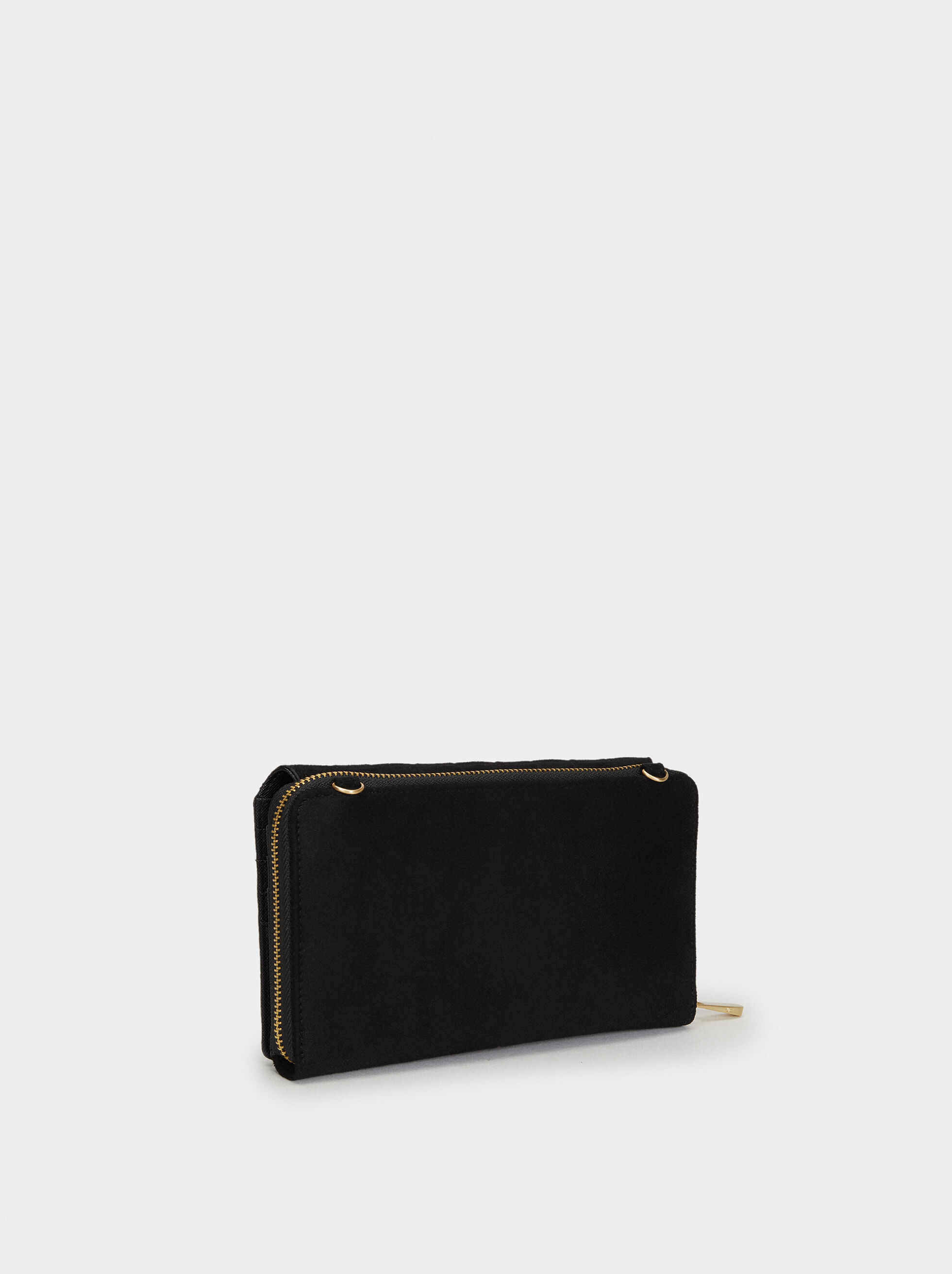 Large Suede Texture Purse, Black, hi-res