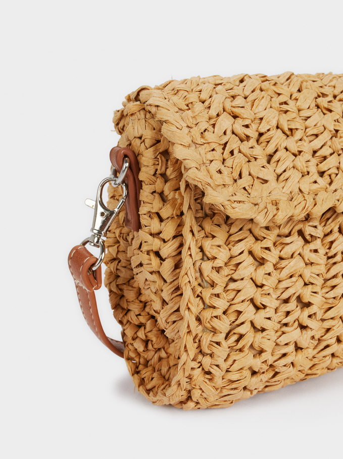 Raffia Handbag With Adjustable Crossbody Strap, Beige, hi-res