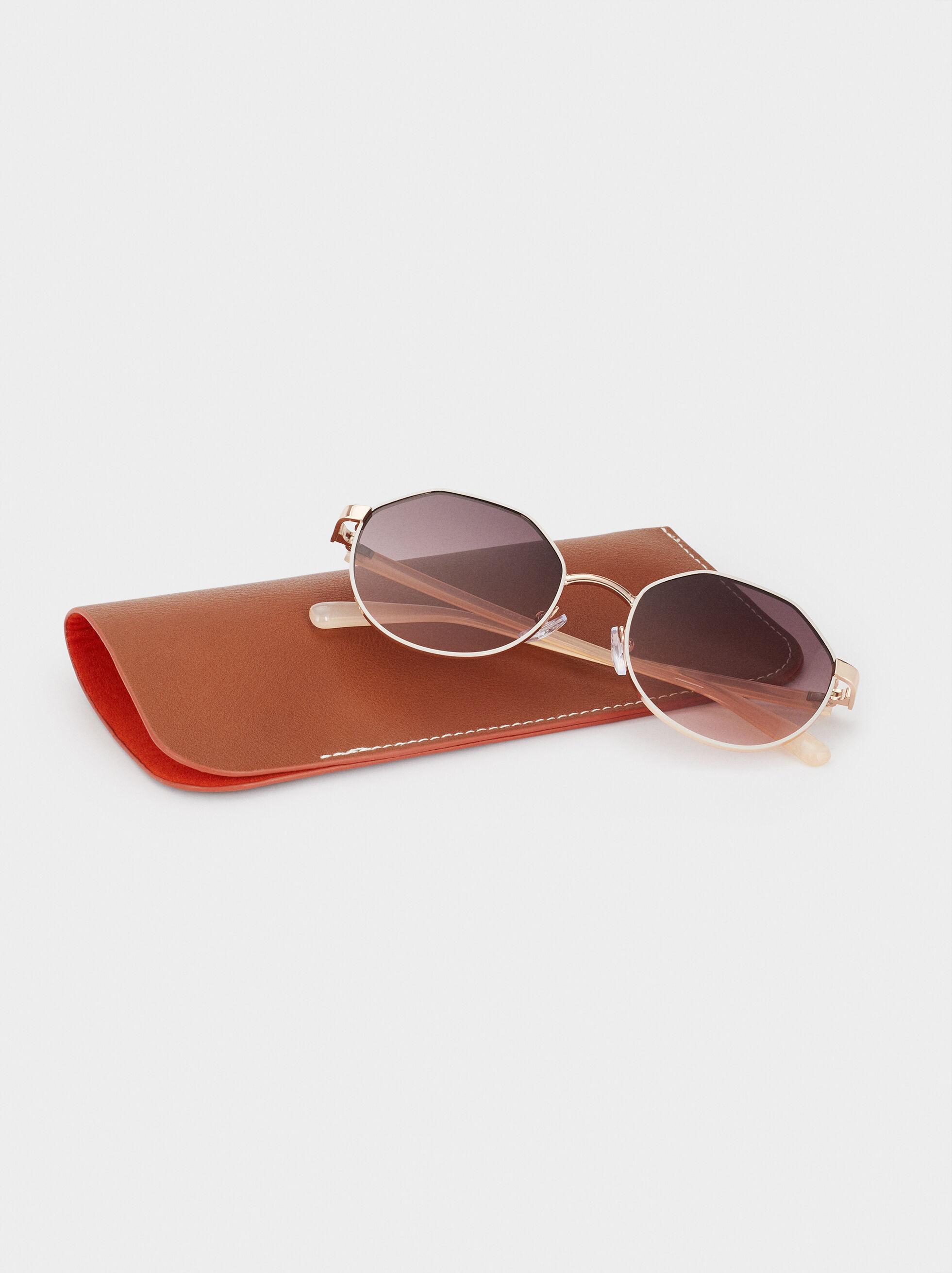Round Metallic Sunglasses , White, hi-res